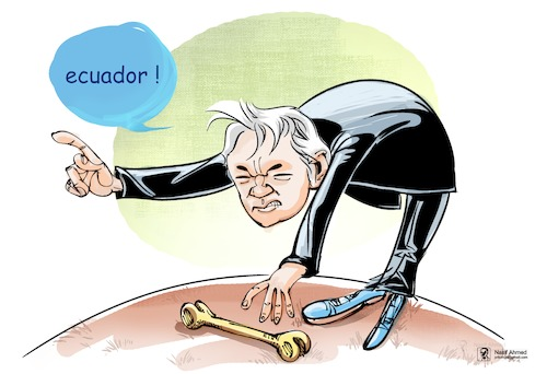 Cartoon: Bone to pick (medium) by Nasif Ahmed tagged bonetopick,cartoon,politicalcartoon,julianassange,ecuador,nasifahmed,nasif,bangladesh,cartoonist