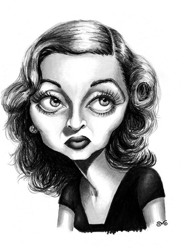 Cartoon: Bette Davis (medium) by menekse cam tagged oscar,awards,academy,drama,romantic,hollywood,theater,television,film,actress,american,davis,bette,elizabeth,ruth