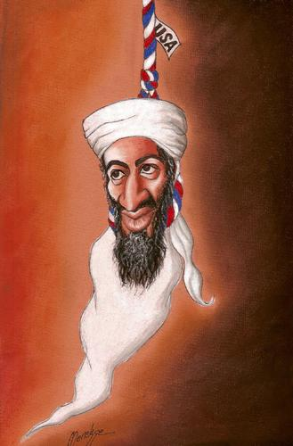 Cartoon: Bin Laden (medium) by menekse cam tagged terrorist,terror,murder,america,usa,died,ghost,laden,bin,osama