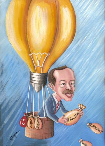 Cartoon: Bulb (medium) by menekse cam tagged bulb,balloon,worker,civilservant,laicism,rights,law,turkey,recep,tayyip,erdogan,akp