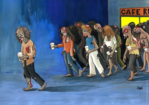Cartoon: Coffee to go (medium) by menekse cam tagged coffee,to,go,zombies,walking,dead,walkers,coffee,to,go,zombies,walking,dead,walkers