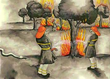 Cartoon: fireman and drought (medium) by menekse cam tagged drought