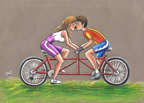 Bike Pictures Cartoon Cartoon Tandem Bikes For
