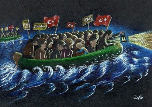 Cartoon: The New Refugees (medium) by menekse cam tagged siginma,ab,avrupa,turkiye,multeciler,hile,secim,trick,erdogan,akp,eu,refugees,turkish,europe,turkey,election,election,turkey,europe,turkish,refugees,eu,akp,erdogan,trick,secim,hile,multeciler,turkiye,avrupa,ab,siginma