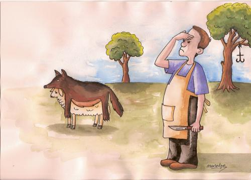 Cartoon: The sacrificial animal (medium) by menekse cam tagged sacrificial