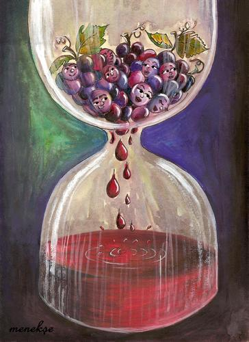 Cartoon: the time ripens (medium) by menekse cam tagged human,relationships,hourglass,grapes,ripen,love,men,women,man,woman,wine,time