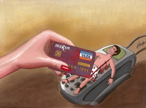 Cartoon: Womens day (medium) by menekse cam tagged men,capitalizm,shopping,man,woman,visa,card,credit,day,womens