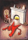 Cartoon: Devil?? (small) by menekse cam tagged devil,woman,women,wine,fireplace,rocking,chair,pelt,seytan,kadin,post,enticing,clever,devilish