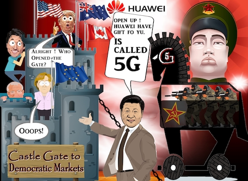 Cartoon: The 5G Horse (medium) by Dedoshucos tagged huawei,usa,china,trade,war,made,in,2025,belt,and,road,initiative,xi,jinping,donald,trump,intellectual,property,tariffs,wto,copyright,law,communism,democracy,5g,horse,trojan