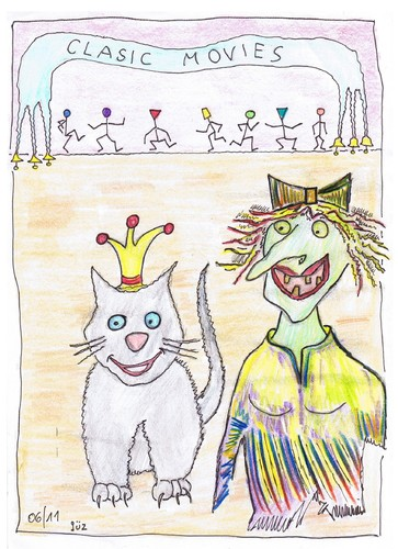 Cartoon: who is who  ??? (medium) by skätch-up tagged beauty,beast,cinema,kino,cat,princess,katze,prinzessin,woman,frau,who