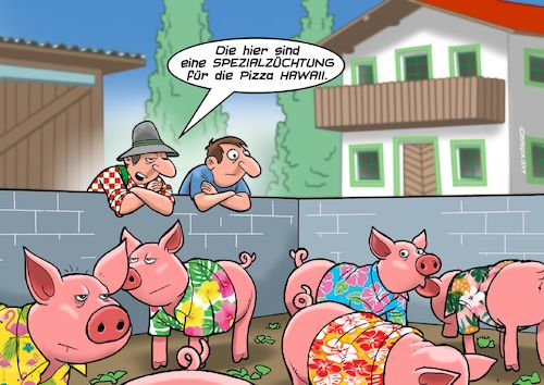 Cartoon: Pizza Hawaii (medium) by C Berger tagged pizza,hawaii,hawaiihemden,schinken,schweinezucht,pizza,hawaii,hawaiihemden,schinken,schweinezucht