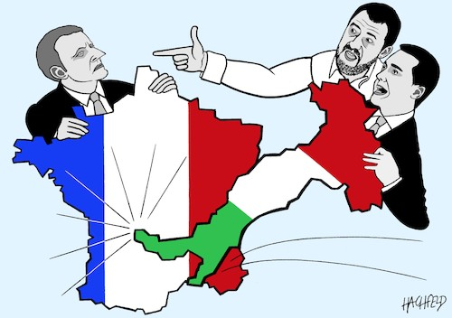 Cartoon: Hallo Nachbar! (medium) by Hachfeld tagged frankreich,italien,macron,salvini,di,maio
