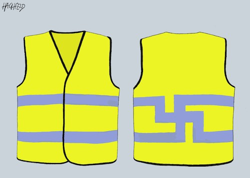 Cartoon: Yellow Vest right-wing variant (medium) by Hachfeld tagged france,protesters,yellow,vest,swastika