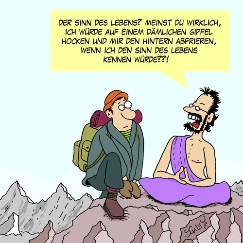 Cartoon der sinn des lebens medium by karsten tagged esoterik