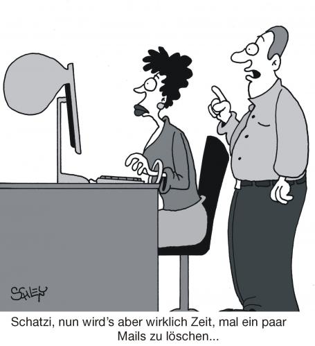 Cartoon: eMails (medium) by Karsten tagged computer,technik,mails,kommunikation,frauen