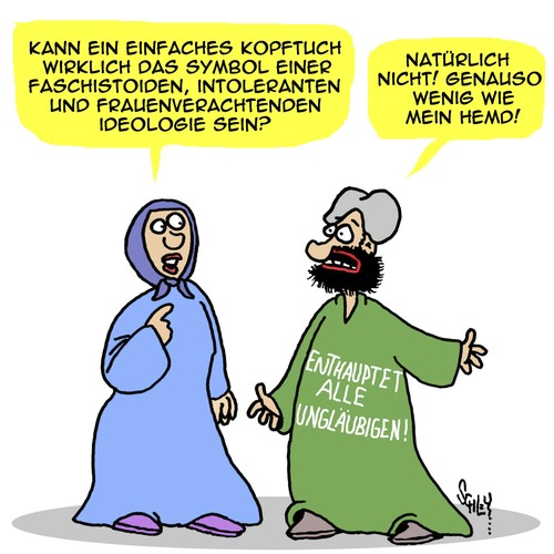 Cartoon: Glaube (medium) by Karsten tagged terror,religion,faschismus,chauvinismus,terroristen,is,islam,frauen,terror,religion,faschismus,chauvinismus,terroristen,is,islam,frauen