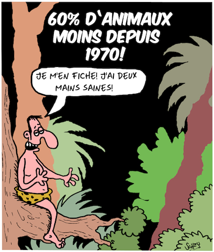 Cartoon: Moins... (medium) by Karsten tagged animaux,jungle,nature,extinction,environnement,animaux,jungle,nature,extinction,environnement