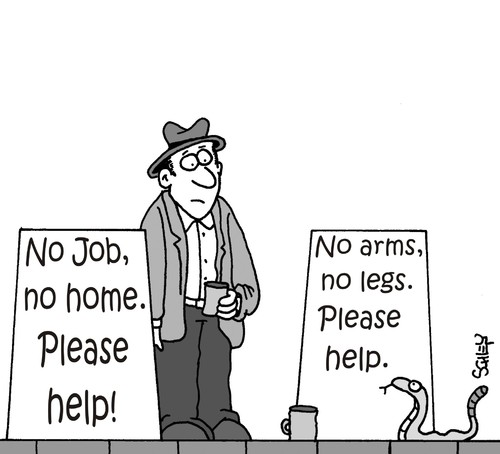Cartoon: Please help (medium) by Karsten tagged money,jobs,business,unemployment,economy