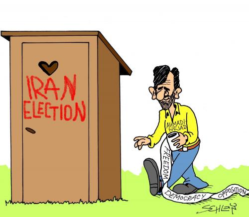 Cartoon: Toilet (medium) by Karsten tagged iran,elections,democracy,freedom