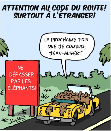 Cartoon: Vacances (medium) by Karsten tagged vacances,tourisme,trafic,reglements,animaux,elephants,pays,etrangers,vacances,tourisme,trafic,reglements,animaux,elephants,pays,etrangers