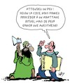 Cartoon: La liberte religieuse (small) by Karsten tagged religion,islamisme,abattage,animaux,cjce,politique,democratie