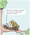 Cartoon: Papa fait la cuisine (small) by Karsten tagged oiseaux,poussins,nourriture,nature,parents,familles