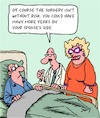 Cartoon: Risky Surgery (small) by Karsten Schley tagged health,medical,doctors,patients,marriage,relationships,men,women,professions,love