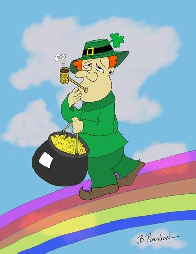 Cartoon leprechaun stroll medium by brian ponshock tagged rainbow