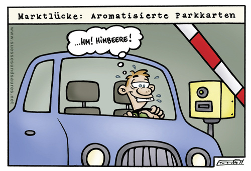 Cartoon: parkkarte (medium) by Steffen Gumpert tagged parkhaus,wagen,schranke,auto,garage,habit,car,parking,atuos,auto,schranke,himbeer,geschmack,frucht,parkschein,parken,parkhaus