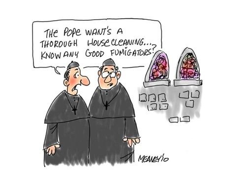 Cartoon: Housecleaning (medium) by John Meaney tagged priest,vatican,religion