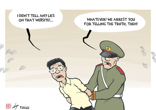 Cartoon: China detains journalist (medium) by rodrigo tagged arrest,police,beijing,government,website,boxun,journalist,nanfu,xiang,china