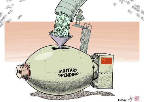 Cartoon: China ups military spend (medium) by rodrigo tagged china,military,spending,arms,army,navy,air,force,war,budget,bomb