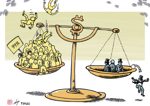 Gap between rich and poor, cartoon