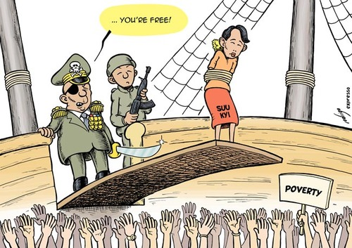 Freed Aung San Suu Kyi By rodrigo | Politics Cartoon | TOONPOOL