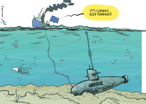 Cartoon: Greece in Depth (medium) by rodrigo tagged greece,european,union,eu,debt,economy,financial,bailout,imf