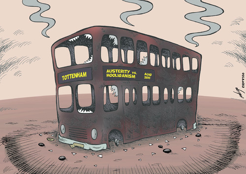 Cartoon: London after the riots (medium) by rodrigo tagged violence,hooliganism,austerity,tottenham,bus,uk,england,riots,london,crisis