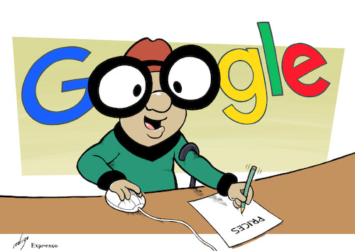 Cartoon: Mr. Magoogle (medium) by rodrigo tagged google,mister,magoo,fine,search,engine,results,abuse,market,shopping,service