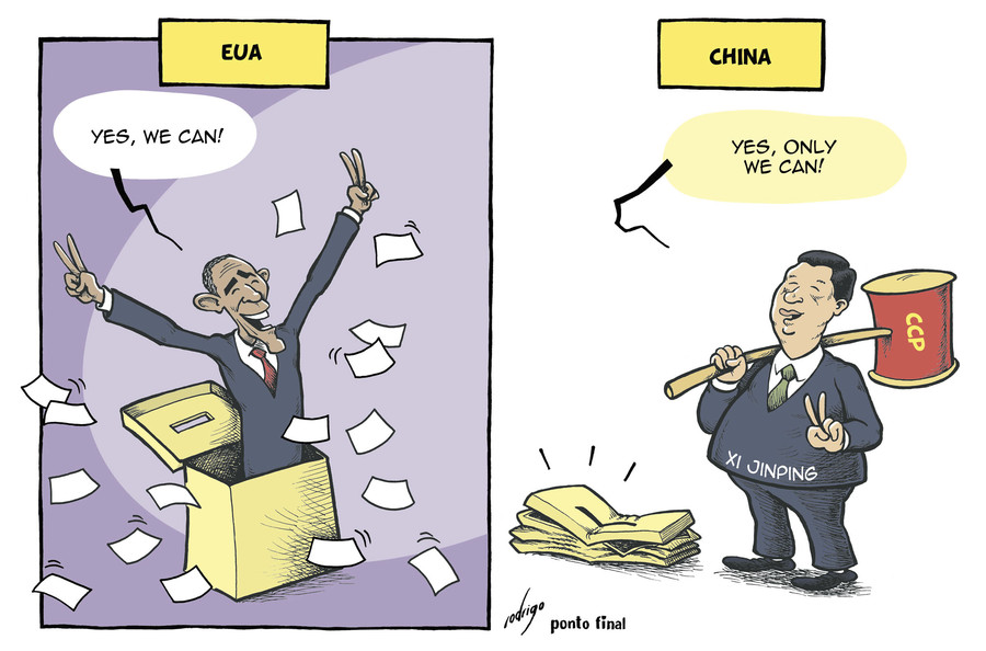 Cartoon: Obama and Xi Jinping (large) by rodrigo tagged china,usa,barack,obama,xi,jinping,president,communist,party,ccp