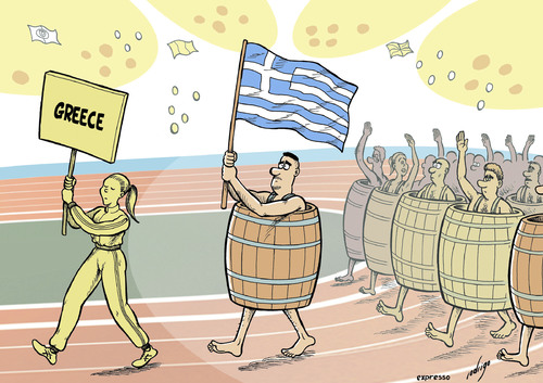 Cartoon: Olympic austerity (medium) by rodrigo tagged greece,crisis,austerity,london,2012,olympic,games,sports,opening,ceremony,nations,parade