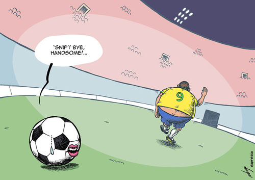 Cartoon: Ronaldo ends career (medium) by rodrigo tagged ronaldo,brazil,sport,football,soccer,team,career,ball,striker