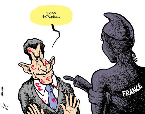 Sarkozy's financial scandal, cartoon by rodrigo