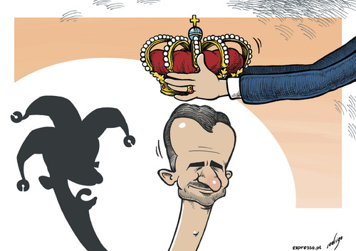 Cartoon: Spanish Monarcomedy (medium) by rodrigo tagged spain,king,crown,prince,felipe,burbon,monarchy,republicans