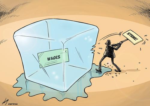 Cartoon: Strike (medium) by rodrigo tagged strikers,protest,wage ...
