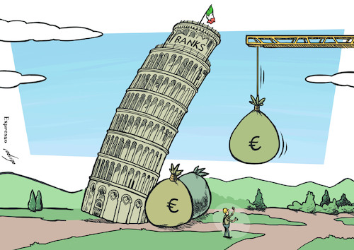 Cartoon: The Leaning Tower of Banks (medium) by rodrigo tagged italy,banks,rescue,financial,banking,crisis,bailout,european,union,eu