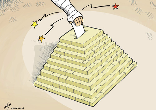 Cartoon: The violent democracy of Egypt (medium) by rodrigo tagged egypt,cairo,protest,rally,giza,clash,violence,pyramid,revolution,democracy,elections