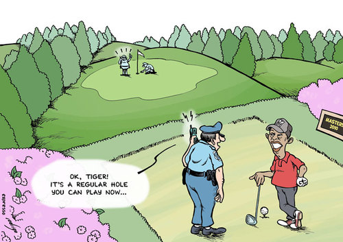 Cartoon: Tiger is back (medium) by rodrigo tagged tiger,woods,golf,pga,masters,lovers,mistress,affair,police,fbi,security