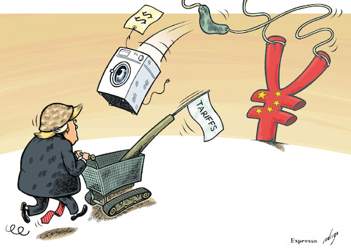 Cartoon: Trade war on China (medium) by rodrigo tagged donald,trump,us,trade,war,china,import,export,economy,commerce,tariffs