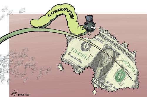 Cartoon: Voracious corruption (medium) by rodrigo tagged corruption,politics,bribes,crime,scandal,law,police,money,rich