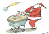 Cartoon: Christmas consumerism (small) by rodrigo tagged christmas,consumerism,santa,claus,shopping,economy,trade,religion