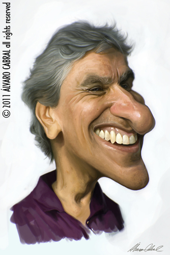 Cartoon: Caetano Veloso (medium) by alvarocabral tagged caricature